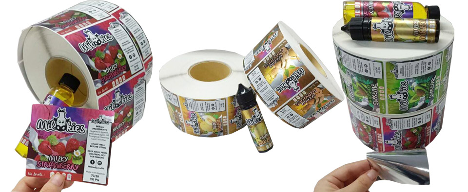 Custom rolled e-liquid & e-juice & vape labels s